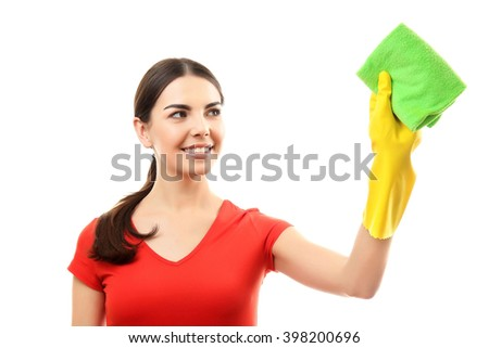 Young woman holding microfiber cloth, isolated on white