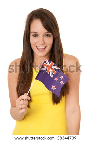 Young woman holding New Zealand flag isolated on white