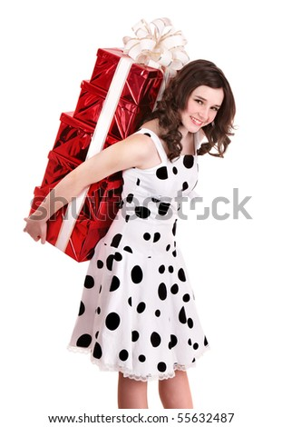 Young woman holding stack gift box. Isolated.