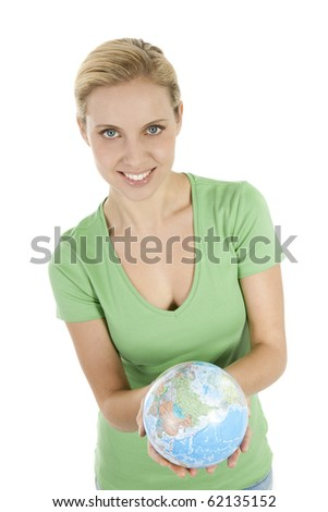 Young woman holding the globe in both hands