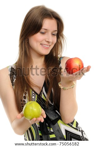 Young woman holding two apples - green and red. - stock photo