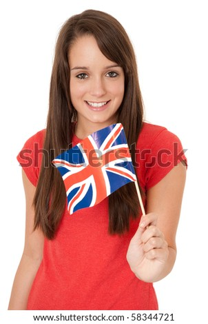 Young woman holding Union Jack flag isolated on white