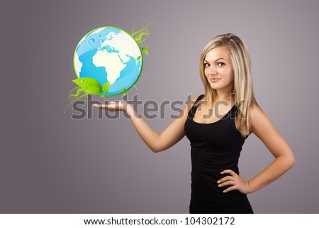 Young woman holding virtual eco sign - stock photo
