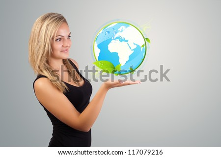 Young woman holding virtual eco sign