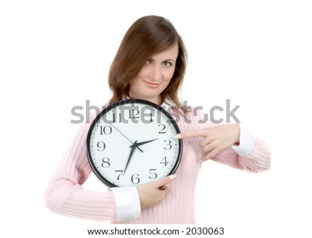 Young woman holding white clock - stock photo