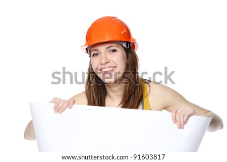 young woman holding white paper in her hands and smiling on white background - stock photo