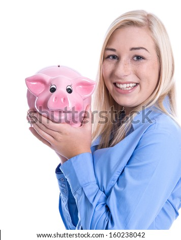 Young woman in a blue blouse isolated with a pink piggy bank - savings for pension