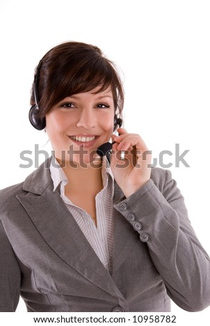 young woman in a call center - stock photo