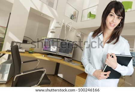 Young woman in a modern beautiful office - stock photo