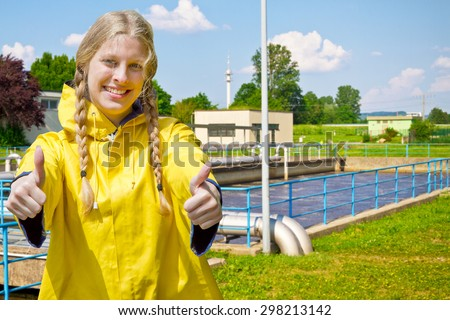 Young woman in a purification plant