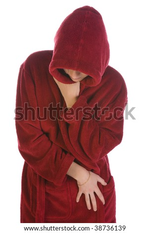 Young woman in a red robe isolated over white - stock photo