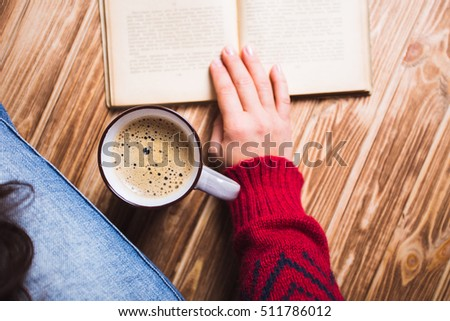 Young Woman Red Sweater Holding Cup Stock Photo 511786057 ...