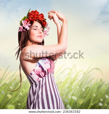 young woman in a spring environment - stock photo