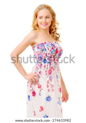 Young woman in a sundress isolated - stock photo