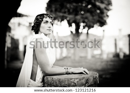 Young woman in ancient style - stock photo