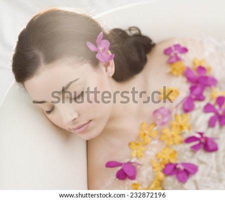 Young Woman in Bath - stock photo