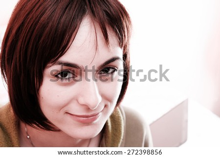 Young woman in bed . - stock photo