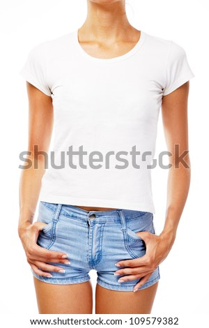 Young woman in blank white t-shirt, isolated on white background - stock photo