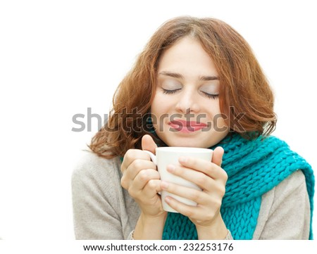 young woman in blue scarf with white mug isolated on white background