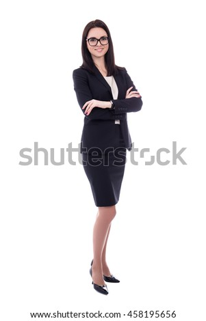 young woman in business suit isolated on white background