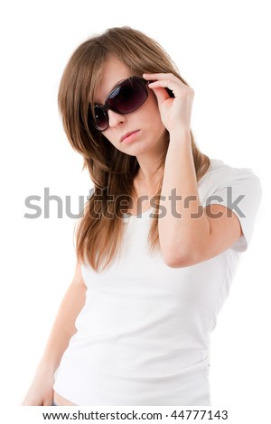 Young woman in casual clothes and sun glasses