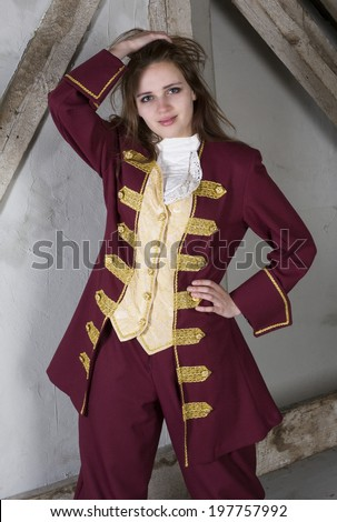 young woman in costume dressed as a prince