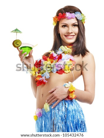 Young woman in  costume of hawaii drinking . - stock photo