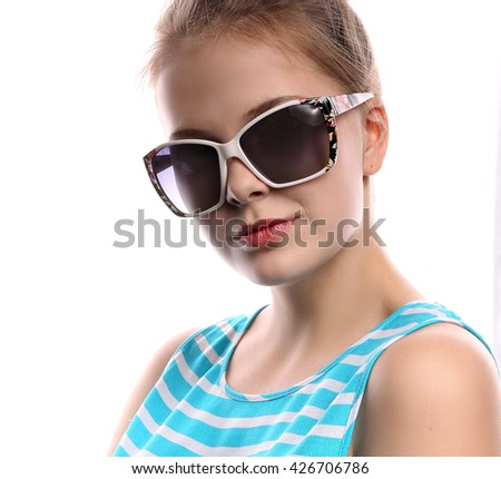 Young woman in dark glasses. Isolated on white background - stock photo