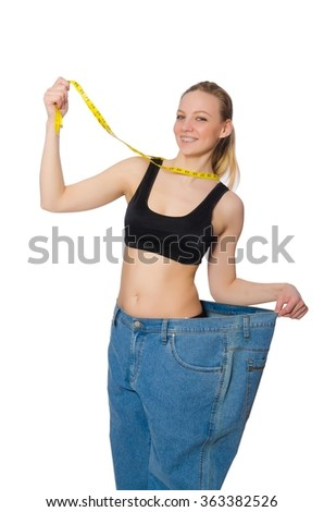 Young woman in dieting concept - stock photo