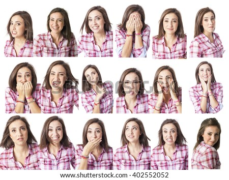 young woman in different expressions multiple options for designers - stock photo
