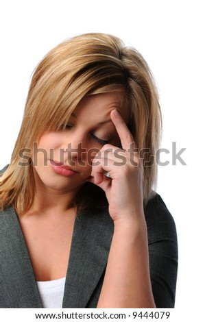 Young woman in distress isolated over a white background