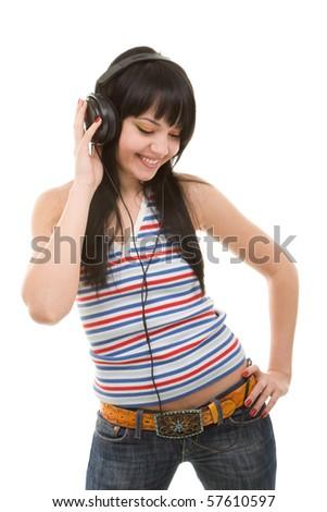 young woman in earphones - stock photo