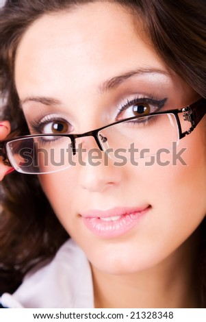 Young woman in eyeglasses portrait. - stock photo