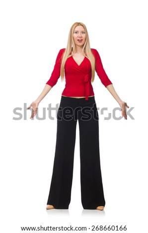Young woman in flared pants isolated on white - stock photo