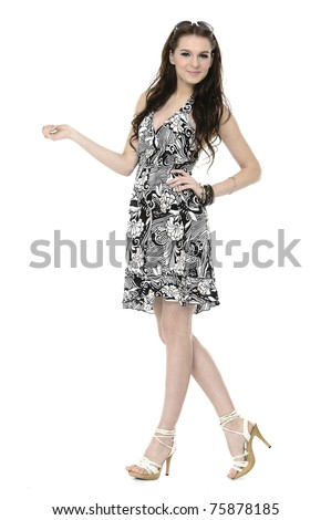 young woman in glamorous dress on white background - stock photo