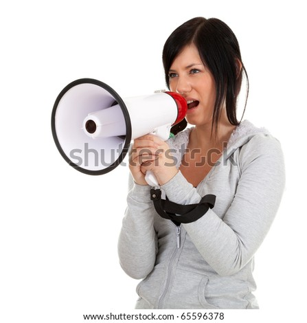 young woman in grey sweatshirt with megaphone