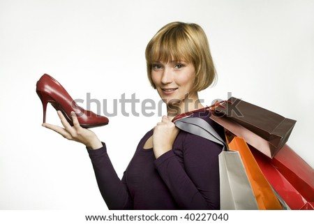 young woman in her 20th shot at studio place with diffrent backgrounds - stock photo