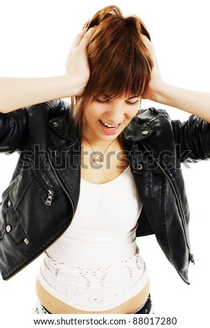 Young woman in hysterics on a white background. Family problems.fury. - stock photo