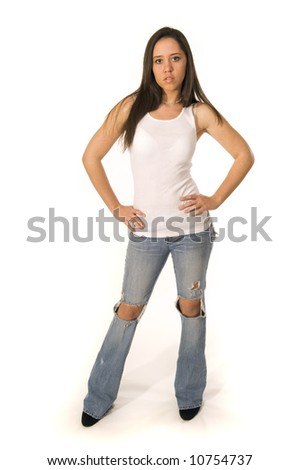 Young woman in jeans - stock photo