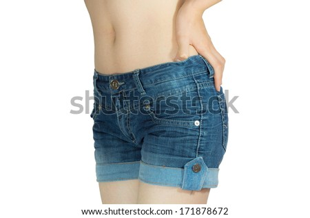 young woman in jeans shorts isolated on white