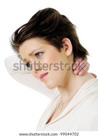 Young woman in pain holding her neck isolated on white - stock photo