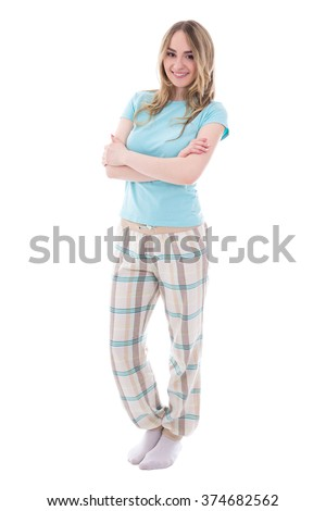 young woman in pajamas isolated on white background - stock photo