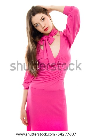 young woman in pink dress isolated - stock photo