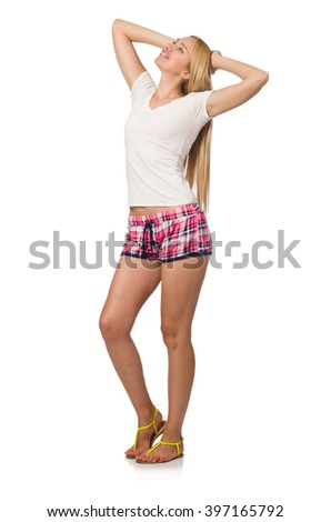 Young woman in pink plaid shorts isolated on white