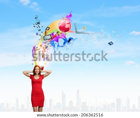 Young woman in red dress closing ears with palms