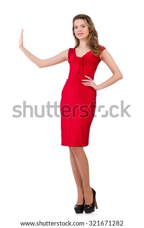 Young woman in red dress isolated on white - stock photo