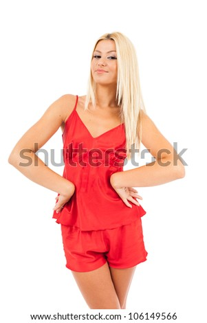 Young woman in red pajamas over white background