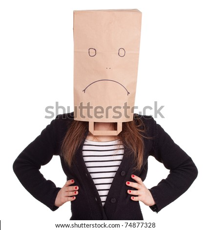 young woman in sad ecological paper bag on head, series