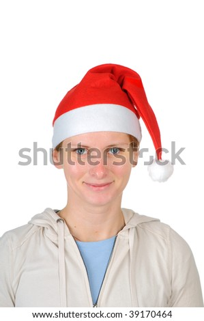Young woman in santa's hat  isolated on white background