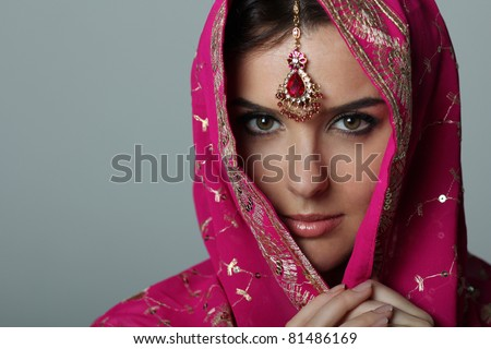 young woman in sari - stock photo